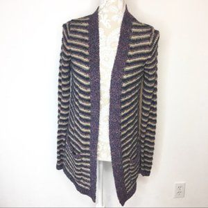 Lucky Brand Knit Striped Cardigan Sweater MED 732